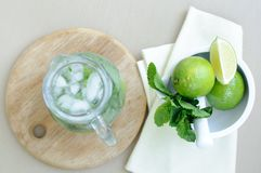 Drink with lime and mint Stock Images