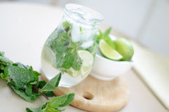 Drink with lime and mint Stock Image