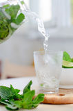 Drink with lime and mint Royalty Free Stock Photo