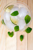 Drink with lime and mint Stock Photo