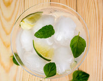 Drink with lime and mint Royalty Free Stock Images