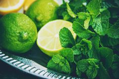 Drink lime and mint. Selective focus royalty free stock images