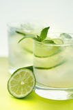 Drink with lime and mint Stock Photography