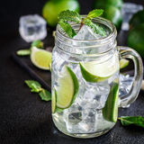 Drink with lime, mint and ice Royalty Free Stock Photography
