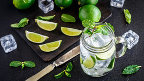 Drink with lime, mint and ice Stock Images