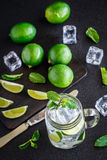 Drink with lime, mint and ice Stock Photography