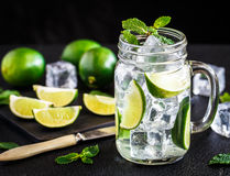 Drink with lime, mint and ice Royalty Free Stock Photo