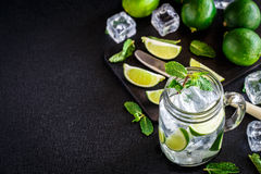 Drink with lime, mint and ice Stock Image