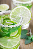 Drink of lime and mint Stock Photo
