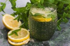 Drink limonade met citroen, munt en ijs stock afbeelding