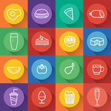 drink line craft icons set in flat design. Vector Royalty Free Stock Photo