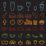 drink line craft icons set Stock Images