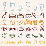 drink line craft icons set Royalty Free Stock Photos