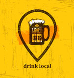 Drink Local Craft Beer Creative Banner Concept On Rough Background. Beverage Vector Design Element Royalty Free Stock Photo