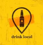 Drink Local Craft Beer Creative Banner Concept On Rough Background. Beverage Vector Design Element Royalty Free Stock Images