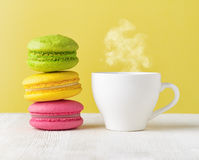 Macaron and cup of coffee Royalty Free Stock Photo