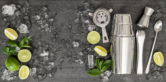 Drink making tools. Ingredients for cocktail lime, mint, ice royalty free stock photo