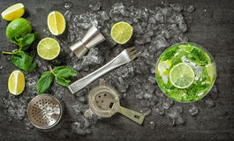 Drink making tools and ingredients for cocktail Royalty Free Stock Image