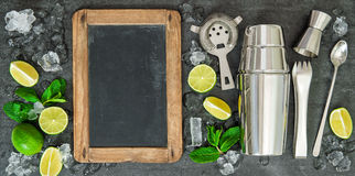 Drink making tools ingredients Lime mint chalkboard Stock Photos
