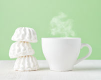 Marshmallow and cup of coffee Royalty Free Stock Photos