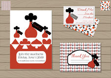 Drink me Bottle Set collection. Drink me Bottle. Set Collection of Invitation card, Thank you Note, Business Card Wonderland. Printable Vector Illustration for Royalty Free Stock Image