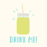 Drink me. Mason jar with green smoothie Royalty Free Stock Photography