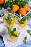 Drink med apelsiner och mintkaramellen royaltyfri foto