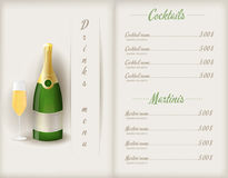 Drink menu template. Booklet with glass and bootle of champagne and cocktails list Stock Photography