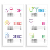 Drink menu template Royalty Free Stock Photography