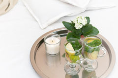Drink with  mint leaves and lemon ginger Stock Photo