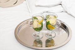 Drink with  mint leaves and lemon ginger Stock Photos