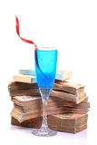 Drink and money Stock Photo