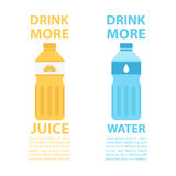 Drink more juice. Drink more water. Bottle of water. Bottle of juice. Drink healthy. Motivation poster template. Royalty Free Stock Photo