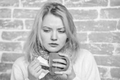 Drink more liquid get rid of cold. Drinking plenty fluid important for ensuring speedy recovery from cold. Girl hold tea. Mug and tissue. Runny nose and other royalty free stock image