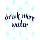 Drink more Water. Vector handwritten motivation poster Royalty Free Stock Image