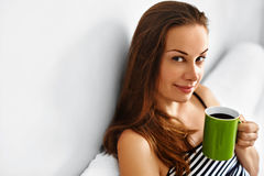 Drink Morning Coffee. Woman Drinking Beverage In Bed. Healthy Lifestyle Royalty Free Stock Photo
