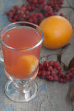 Drink from mountain ash with oranges. Stock Images