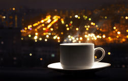 The drink of nightlife. Hot coffee with steam Royalty Free Stock Photography