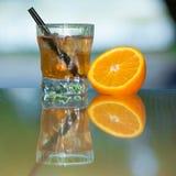 Drink och frukt Fotografering för Bildbyråer