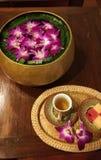 Drink och garnering för thailändsk brunnsort välkommen royaltyfria bilder