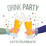 Drink Office Party Poster Vector. Hands Holding Beer Glasses. Clinking Glasses With Alcohol. Chin-Chin. Isolated Flat. Drink Office Party Banner Vector Royalty Free Stock Photo
