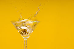 Drink with olive. Cocktail short drink with olive Royalty Free Stock Photos