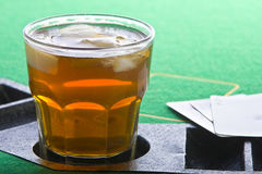 Drink On Poker Table Stock Image