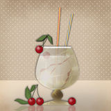 Drink for party with cherry on retro background Royalty Free Stock Photo