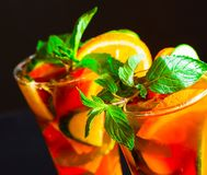 Drink. Pimms, black background Royalty Free Stock Photography
