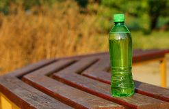 Drink in a plastic bottle on a hot day Royalty Free Stock Photography