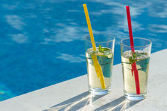 Drink by the pool Royalty Free Stock Photos