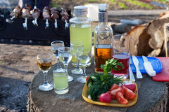 Drink, poured into the glasses with a snack on the stump. Vodka, whiskey, poured into the glasses with a snack of vegetables on a stump, waiting for the Royalty Free Stock Images