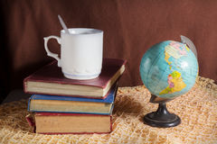Drink and read book. royalty free stock photo