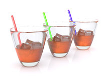 Drink. Realistic whiskey with ice and straws in the glass. RGB. 3D Stock Photo